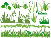 Cartoon grass with separated parts of the drawing. stock illustration