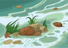 Cartoon Grass Stones And Brook Royalty Free Stock Photos