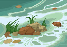 Cartoon grass stones and brook Royalty Free Stock Photos