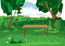 Cartoon grass trees and bench Stock Images