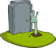 Cartoon grave. Hand out of the grave, vector Royalty Free Stock Images