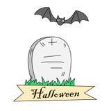 Cartoon gravestone and bat Royalty Free Stock Photos