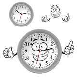 Cartoon gray office wall clock character Stock Photos