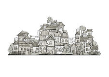 Cartoon grayscale vector construction town Royalty Free Stock Image