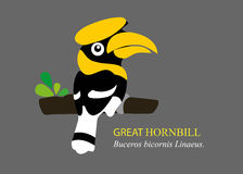A  cartoon great hornbill. Royalty Free Stock Photography