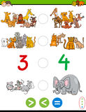 Cartoon greater less or equal worksheet. Cartoon Illustration of Educational Mathematical Activity Game of Greater Than, Less Than or Equal to for Children with Royalty Free Stock Images