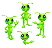 Cartoon Green Alien Set. A cute cartoon green alien Martian character with antennae in various poses vector illustration
