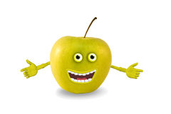 Cartoon green apple. Objects over white. Stock Photos
