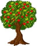 Cartoon Green Apple tree full red apples Stock Photography
