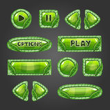 Cartoon green buttons with leaves. vector illustration