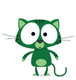 Cartoon green cat Stock Photo