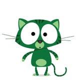 Cartoon green cat. Isolated on white background Stock Photo