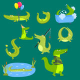 Cartoon green crocodile funny predator australian wildlife river reptile alligator flat vector illustration. Royalty Free Stock Photo