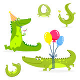 Cartoon green crocodile funny predator australian wildlife river reptile alligator flat vector illustration. Royalty Free Stock Photos