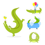 Cartoon green crocodile funny predator australian wildlife river reptile alligator flat vector illustration. Cartoon green crocodile funny predator and Royalty Free Stock Photo