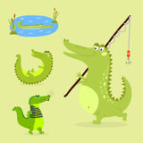 Cartoon green crocodile funny predator australian wildlife river reptile alligator flat vector illustration. Cartoon green crocodile funny predator and Stock Photography