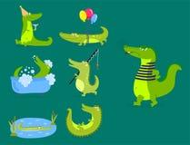 Cartoon green crocodile funny predator australian wildlife river reptile alligator flat vector illustration. Cartoon green crocodile funny predator and Stock Photos