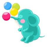 Cartoon green cute elephant trunk inflates balloons. Stock Photos