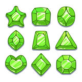 Cartoon green different shapes gems set Royalty Free Stock Photo