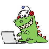 Cartoon green dinosaur sitting at the silver laptop. Vector illustration. stock photography