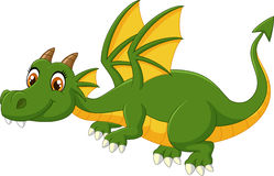 Cartoon green dragon flying Stock Photography