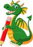 Cartoon green dragon holding red pencil Stock Photos