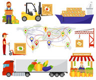 Cartoon green eco food fruits delivery truck vector illustration. Royalty Free Stock Images