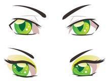 Cartoon Green Eyes Stock Image