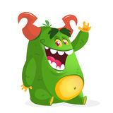 Cartoon green fat monster. Vector character for Halloween Royalty Free Stock Photos