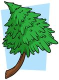 Cartoon green fir tree on blue background. Vector icon Royalty Free Stock Image