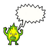 cartoon green fire creature with speech bubble Royalty Free Stock Images