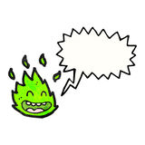 Cartoon green fire creature with speech bubble. Retro cartoon with texture. Isolated on White Stock Photos
