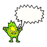 Cartoon green fire creature with speech bubble Stock Photo