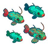Cartoon green fish with red ornaments isolated on a white background. Synchiropus splendidus, mandarinfish. Vector Stock Illustration