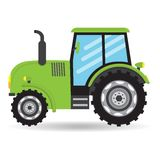 Cartoon green flat vector Tractor vehicle farm icon. On white background Royalty Free Stock Photography
