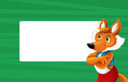Cartoon green frame with happy fox for different usage space for text. Happy and funny traditional illustration for children - scene for different usage stock illustration