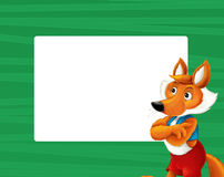 Cartoon green frame with happy fox for different usage space for text. Happy and funny traditional illustration for children - scene for different usage vector illustration