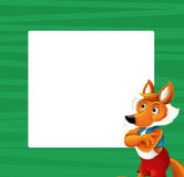 Cartoon green frame with happy fox for different usage space for text. Happy and funny traditional illustration for children - scene for different usage royalty free illustration
