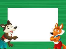 Cartoon green frame with happy fox and wolf for different usage space for text. Happy and funny traditional illustration for children - scene for different usage vector illustration