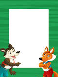 Cartoon green frame with happy fox and wolf for different usage space for text. Happy and funny traditional illustration for children - scene for different usage stock illustration