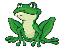 Cartoon green frog Stock Images