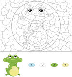 Cartoon green frog. Color by number educational game for kids Stock Images