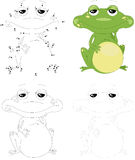 Cartoon green frog. Dot to dot game for kids Stock Photography