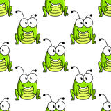 Cartoon green grasshopper character seamless Royalty Free Stock Image