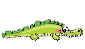 Cartoon green happy crocodile with funny teeth as children drawi Royalty Free Stock Photography