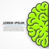 Cartoon green left part of human brain. Clean vector Royalty Free Stock Photo