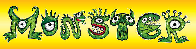 Cartoon green monster mutant letters  illustrations Royalty Free Stock Photo