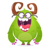 Cartoon green monster nerd wearing glasses. Vector illustration of excited monster character isolated. Royalty Free Illustration