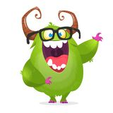Cartoon green monster nerd wearing glasses. Vector illustration of excited monster character. Waving isolated vector illustration