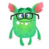 Cartoon green monster nerd wearing glasses. Vector illustration isolated. Stock Illustration